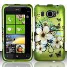 Hard Plastic Rubberized Snap On Design Case for HTC Titan II (AT&T) - Green Flowers & Butterfly