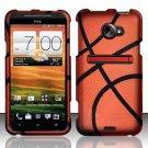 Hard Plastic Rubberized Snap On Design Case for HTC Evo 4G LTE (Sprint) - Basketball