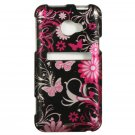 Hard Plastic Snap On Design Cover Case for HTC Evo 4G LTE (Sprint) - Pink Butterfly