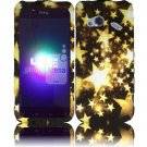 Hard Plastic Rubberized Design Case for HTC Droid Incredible 4G (Verizon) - Gold Stars