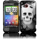 Hard Plastic Rubberized Design Case for HTC Droid Incredible 4G (Verizon) - White Skull