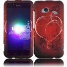 Hard Plastic Rubberized Design Case for HTC Droid Incredible 4G (Verizon) - Red Heart Swirl