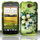 Hard Plastic Rubberized Snap On Design Case for HTC One S/Ville (T-Mobile) - Green Flowers Butterfly