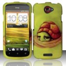 Hard Plastic Rubberized Snap On Design Case for HTC One S/Ville (T-Mobile) - Floating Turtle