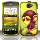 Hard Plastic Rubberized Snap On Design Case for HTC One S/Ville (T-Mobile) - Sitting Monkey