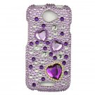 Hard Plastic Bling Diamond Snap On Cover Case for HTC One S/Ville (T-Mobile) - Purple Hearts