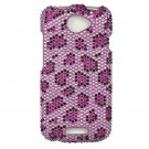Hard Plastic Bling Diamond Snap On Cover Case for HTC One S/Ville (T-Mobile) - Purple Leopard
