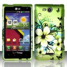 Hard Plastic 2-Piece Rubberized Snap On Design Case for LG Lucid 4G - Green Flowers Butterfly