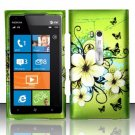 Hard Plastic Rubberized Snap On Design Case for Nokia Lumia 900 (AT&T) – Green Flowers Butterfly