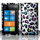 Hard Plastic Rubberized Snap On Design Case for Nokia Lumia 900 (AT&T) – Rainbow Leopard