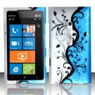 Hard Plastic Rubberized Snap On Design Case for Nokia Lumia 900 (AT&T) – Silver and Blue Vines