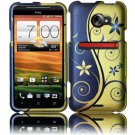 Hard Plastic Rubberized Snap On Design Case for HTC Evo 4G LTE (Sprint) - Royal Swirl