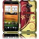 Hard Plastic Rubberized Snap On Design Case for HTC Evo 4G LTE (Sprint) - Elegance Swirl