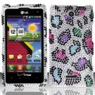 Hard Plastic Bling Rhinestone Design Case for LG Lucid 4G (Verizon) - Rainbow Leopard