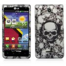 Hard Plastic 2-Piece Rubberized Snap On Design Case for LG Lucid 4G - White Skulls