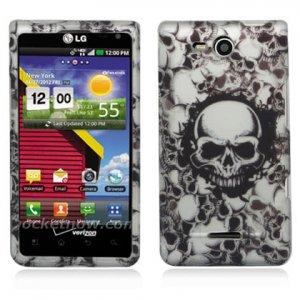 Hard Plastic 2-Piece Rubberized Snap On Design Case for LG Lucid 4G - White Skulls