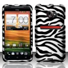 Hard Plastic Rubberized Snap On Design Case for HTC Evo 4G LTE (Sprint) - Silver and Black Zebra