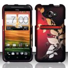 Hard Plastic Rubberized Snap On Design Case for HTC Evo 4G LTE (Sprint) - Red Leaves