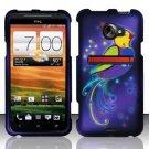 Hard Plastic Rubberized Snap On Design Case for HTC Evo 4G LTE (Sprint) - Purple Bird