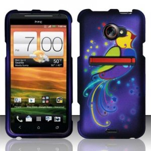 Hard Plastic Rubberized Snap On Design Case for HTC Evo 4G LTE (Sprint) - Purple Bird