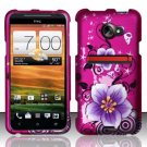Hard Plastic Rubberized Snap On Design Case for HTC Evo 4G LTE (Sprint) - Hibiscus Flowers