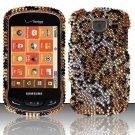 Hard Plastic Bling Rhinestone Design Case for Samsung Brightside U380 - Golden Cheetah