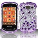 Hard Plastic Bling Rhinestone Design Case for Samsung Brightside U380 - Purple and Silver