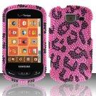 Hard Plastic Bling Rhinestone Design Case for Samsung Brightside U380 - Hot Pink Leopard
