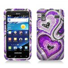 Hard Plastic Bling Rhinestone Design Case for Samsung Captivate Glide 4G - Purple Heart & Pearls
