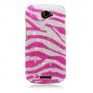 Hard Plastic Bling Diamond Snap On Cover Case for HTC One S/Ville (T-Mobile) - Pink Zebra