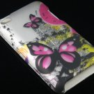 Hard Plastic Rubber Feel Design Case for Apple iPod Touch 4 - Silver & Pink Butterfly