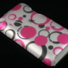 Hard Plastic Rubber Feel Design Case for Apple iPod Touch 4 - Black and Pink Dots