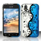 Hard Plastic Rubber Feel Design Case for LG Marquee LS855 - Silver and Blue Vines