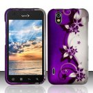 Hard Plastic Rubber Feel Design Case for LG Marquee LS855 - Silver and Purple Vines