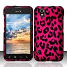 Hard Plastic Rubber Feel Design Case for LG Marquee LS855 - Hot Pink Leopard