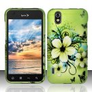 Hard Plastic Rubber Feel Design Case for LG Marquee LS855 - Green Flowers and Butterfly