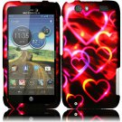 Hard Plastic Rubberized Design Case for Motorola Atrix 3 HD MB886 (AT&T) – Colorful Heart