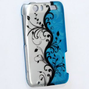 Hard Plastic Rubberized Design Case for Motorola Atrix 3 HD MB886 (AT&T) � Silver & Blue Vines