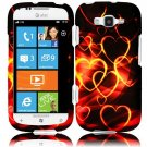 Hard Plastic Rubberized Snap On Design Case for Samsung Focus 2 i667 (AT&T) - Gold Hearts