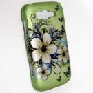 Hard Plastic Rubberized Snap On Design Case for Samsung Focus 2 i667 (AT&T) - Flowers & Butterfly