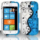 Hard Plastic Rubberized Snap On Design Case for Samsung Focus 2 i667 (AT&T) - Silver & Blue Vines