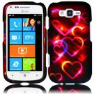 Hard Plastic Rubberized Snap On Design Case for Samsung Focus 2 i667 (AT&T) - Colorful Hearts