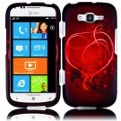 Hard Plastic Rubberized Snap On Design Case for Samsung Focus 2 i667 (AT&T) - Red Heart Swirl
