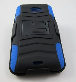 New Rugged Armor Hybrid Hard Case With Belt Clip Holster for HTC Evo 4G LTE (Sprint) - Blue