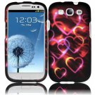 Hard Plastic Rubberized Design Case Cover for Samsung Galaxy S3 III – Colorful Hearts