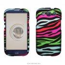 Hard Plastic Rubberized Design Case Cover for Samsung Galaxy S3 III – Rainbow Zebra