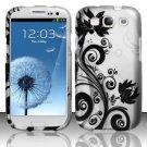 Hard Plastic Rubberized Design Case Cover for Samsung Galaxy S3 III – Silver & Black Vines