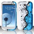 Hard Plastic Rubberized Design Case Cover for Samsung Galaxy S3 III – Silver & Blue Vines