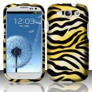 Hard Plastic Rubberized Design Case Cover for Samsung Galaxy S3 III – Golden Zebra