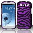 Hard Plastic Rubberized Design Case Cover for Samsung Galaxy S3 III – Purple Zebra